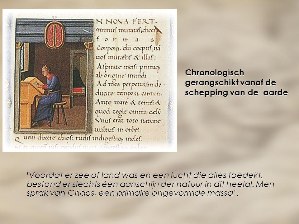 Chronologisch gerangschikt vanaf de schepping van de aarde 'Voordat er zee of land was en een lucht die alles toedekt, bestond er slechts één aanschij