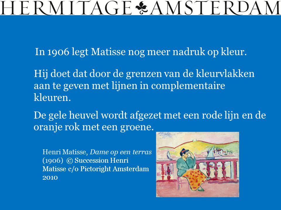 In 1906 legt Matisse nog meer nadruk op kleur. Hij doet dat door de grenzen van de kleurvlakken aan te geven met lijnen in complementaire kleuren. De
