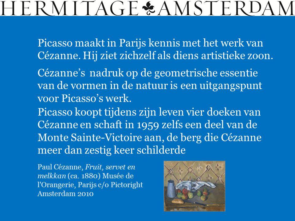 Picasso maakt in Parijs kennis met het werk van Cézanne. Hij ziet zichzelf als diens artistieke zoon. Cézanne's nadruk op de geometrische essentie van
