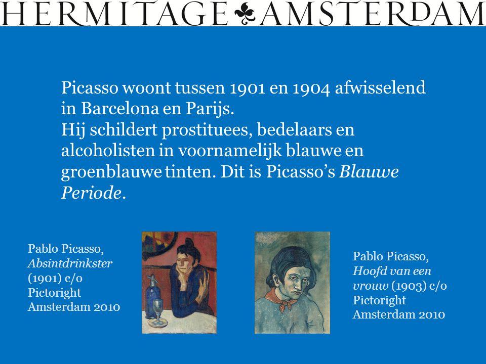 Picasso woont tussen 1901 en 1904 afwisselend in Barcelona en Parijs. Hij schildert prostituees, bedelaars en alcoholisten in voornamelijk blauwe en g