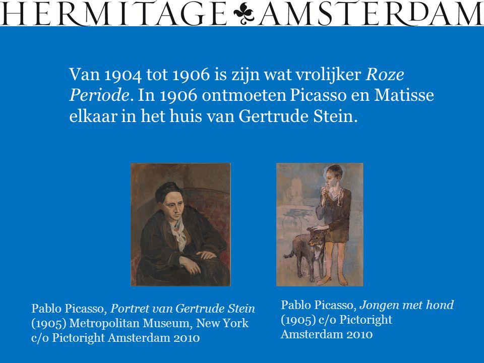 Van 1904 tot 1906 is zijn wat vrolijker Roze Periode. In 1906 ontmoeten Picasso en Matisse elkaar in het huis van Gertrude Stein. Pablo Picasso, Jonge
