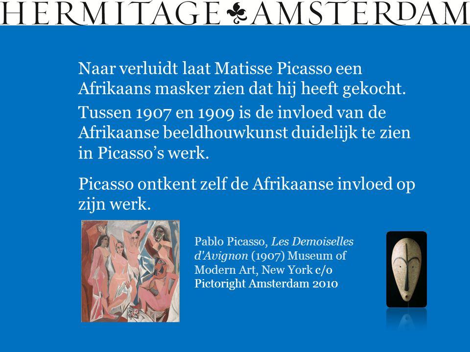 Naar verluidt laat Matisse Picasso een Afrikaans masker zien dat hij heeft gekocht. Tussen 1907 en 1909 is de invloed van de Afrikaanse beeldhouwkunst