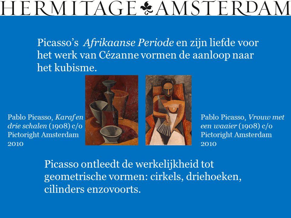 Picasso's Afrikaanse Periode en zijn liefde voor het werk van Cézanne vormen de aanloop naar het kubisme. Picasso ontleedt de werkelijkheid tot geomet