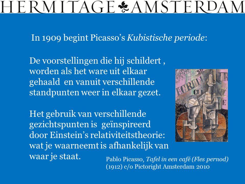 In 1909 begint Picasso's Kubistische periode: De voorstellingen die hij schildert, worden als het ware uit elkaar gehaald en vanuit verschillende stan