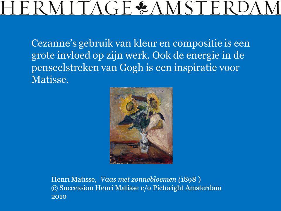 Cezanne's gebruik van kleur en compositie is een grote invloed op zijn werk. Ook de energie in de penseelstreken van Gogh is een inspiratie voor Matis
