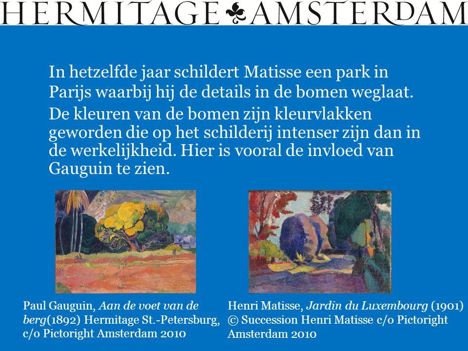 De kleuren van de bomen zijn kleurvlakken geworden die op het schilderij intenser zijn dan in de werkelijkheid. Hier is vooral de invloed van Gauguin