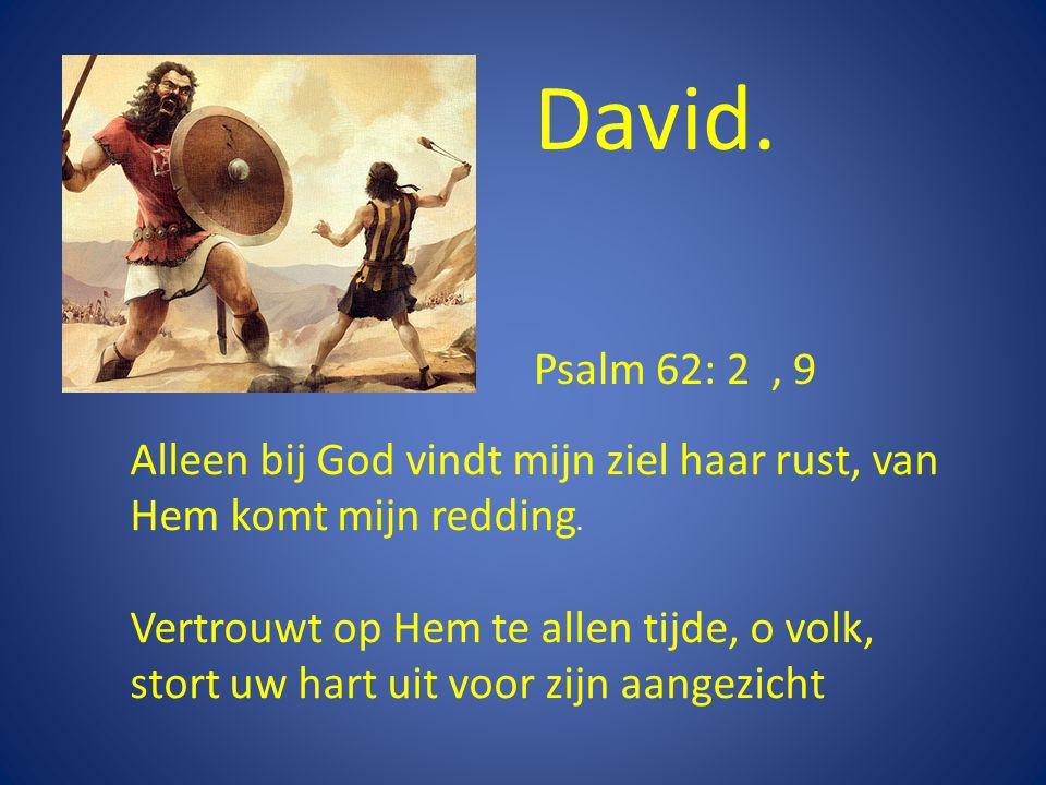 David. Alleen bij God vindt mijn ziel haar rust, van Hem komt mijn redding.