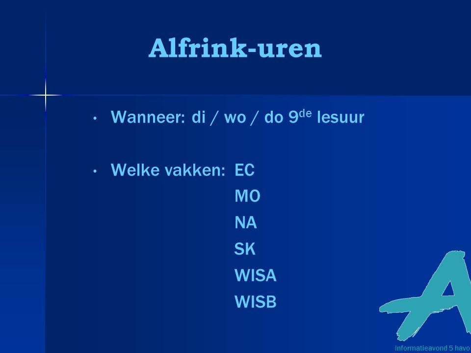 Alfrink-uren Wanneer: di / wo / do 9 de lesuur Welke vakken:EC MO NA SK WISA WISB Informatieavond 5 havo