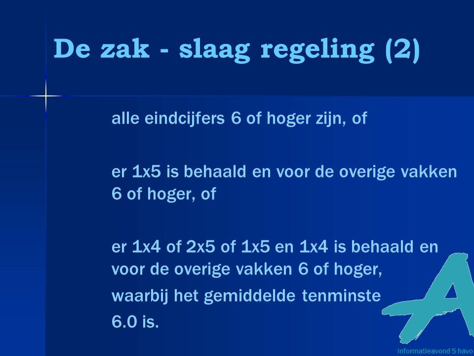 De zak - slaag regeling (2) alle eindcijfers 6 of hoger zijn, of er 1x5 is behaald en voor de overige vakken 6 of hoger, of er 1x4 of 2x5 of 1x5 en 1x4 is behaald en voor de overige vakken 6 of hoger, waarbij het gemiddelde tenminste 6.0 is.