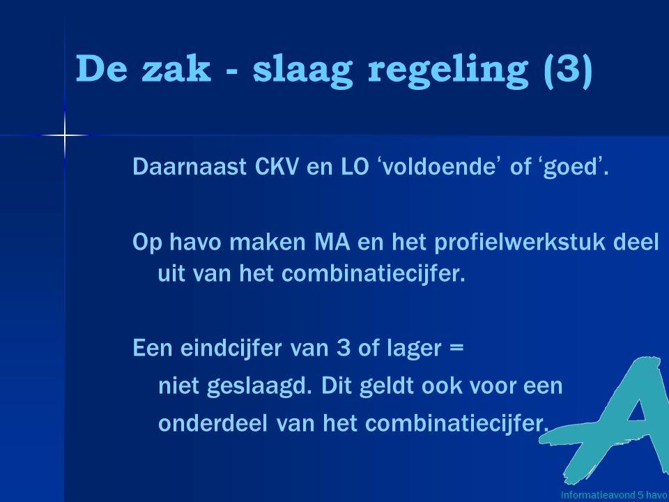 De zak - slaag regeling (3) Daarnaast CKV en LO 'voldoende' of 'goed'.
