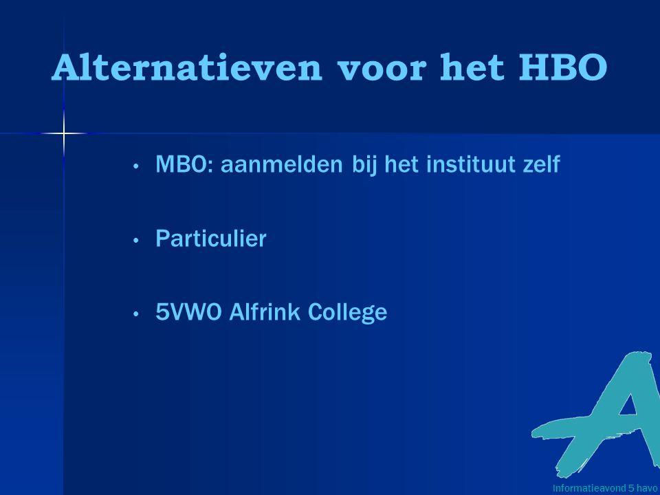 Alternatieven voor het HBO MBO: aanmelden bij het instituut zelf Particulier 5VWO Alfrink College Informatieavond 5 havo