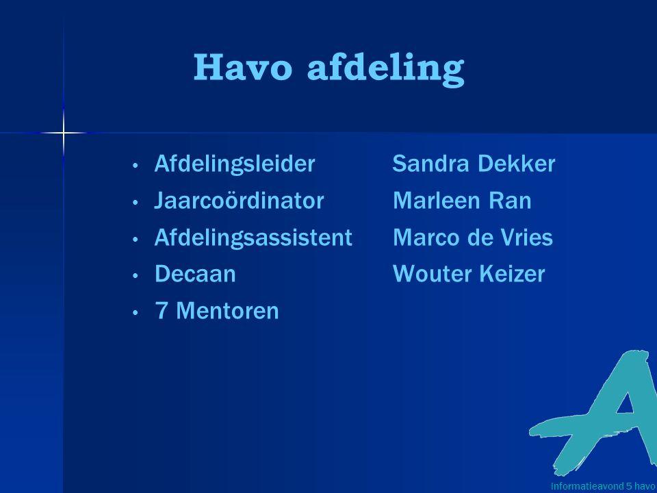 Havo afdeling Afdelingsleider Sandra Dekker Jaarcoördinator Marleen Ran AfdelingsassistentMarco de Vries Decaan Wouter Keizer 7 Mentoren Informatieavond 5 havo
