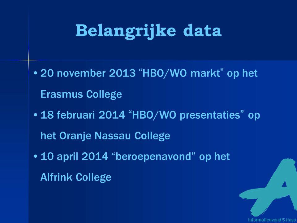 Belangrijke data 20 november 2013 HBO/WO markt op het Erasmus College 18 februari 2014 HBO/WO presentaties op het Oranje Nassau College 10 april 2014 beroepenavond op het Alfrink College Informatieavond 5 Havo