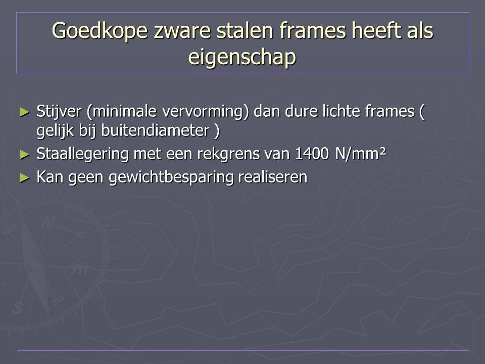 Goedkope zware stalen frames heeft als eigenschap ► Stijver (minimale vervorming) dan dure lichte frames ( gelijk bij buitendiameter ) ► Staallegering
