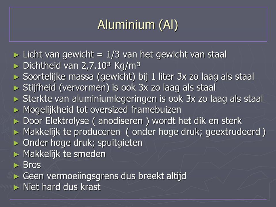 Aluminium (Al) ► Licht van gewicht = 1/3 van het gewicht van staal ► Dichtheid van 2,7.10³ Kg/m³ ► Soortelijke massa (gewicht) bij 1 liter 3x zo laag