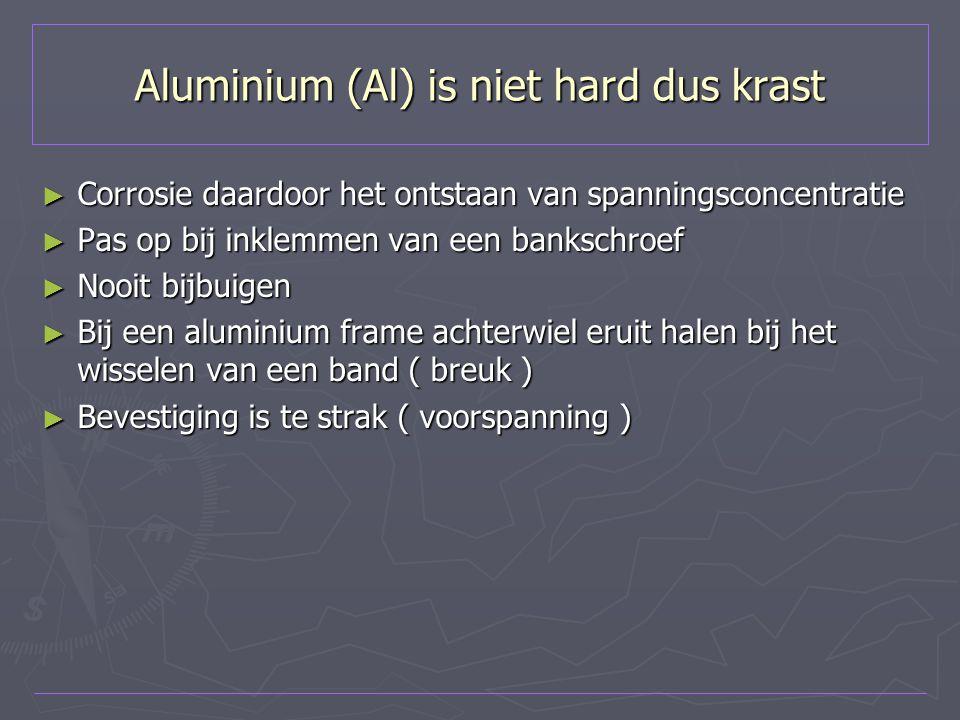 Aluminium (Al) is niet hard dus krast ► Corrosie daardoor het ontstaan van spanningsconcentratie ► Pas op bij inklemmen van een bankschroef ► Nooit bi