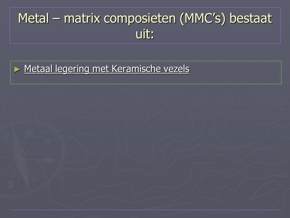 Metal – matrix composieten (MMC's) bestaat uit: ► Metaal legering met Keramische vezels
