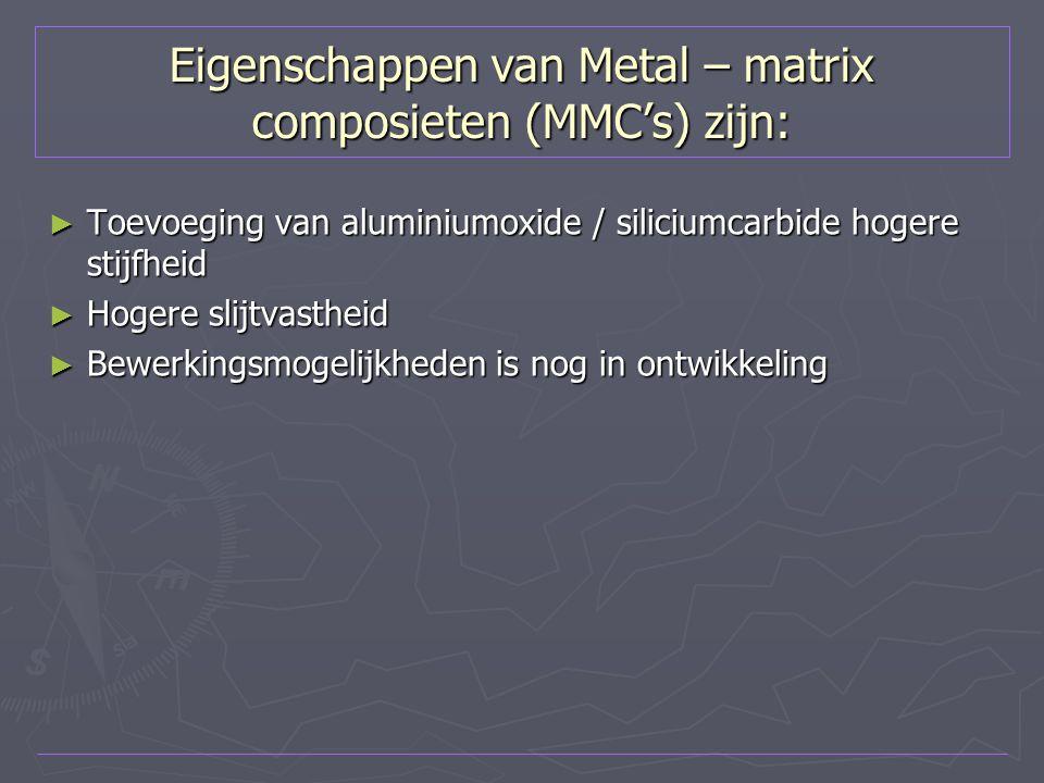 Eigenschappen van Metal – matrix composieten (MMC's) zijn: ► Toevoeging van aluminiumoxide / siliciumcarbide hogere stijfheid ► Hogere slijtvastheid ►