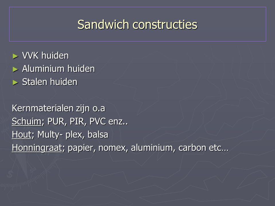 Sandwich constructies ► VVK huiden ► Aluminium huiden ► Stalen huiden Kernmaterialen zijn o.a Schuim; PUR, PIR, PVC enz.. Hout; Multy- plex, balsa Hon