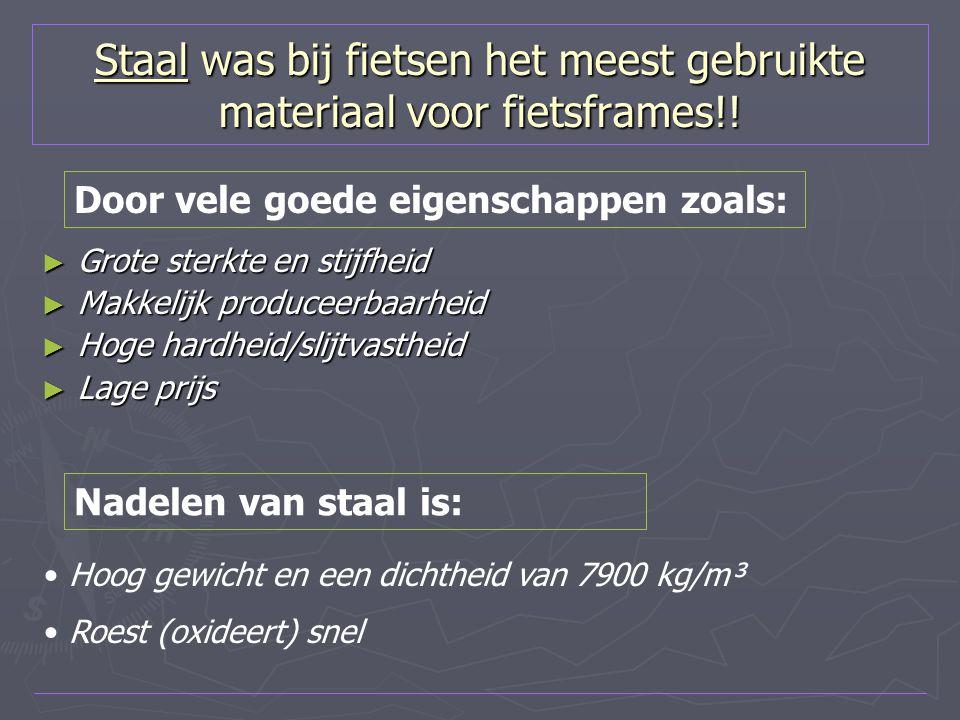 Staal was bij fietsen het meest gebruikte materiaal voor fietsframes!! ► Grote sterkte en stijfheid ► Makkelijk produceerbaarheid ► Hoge hardheid/slij