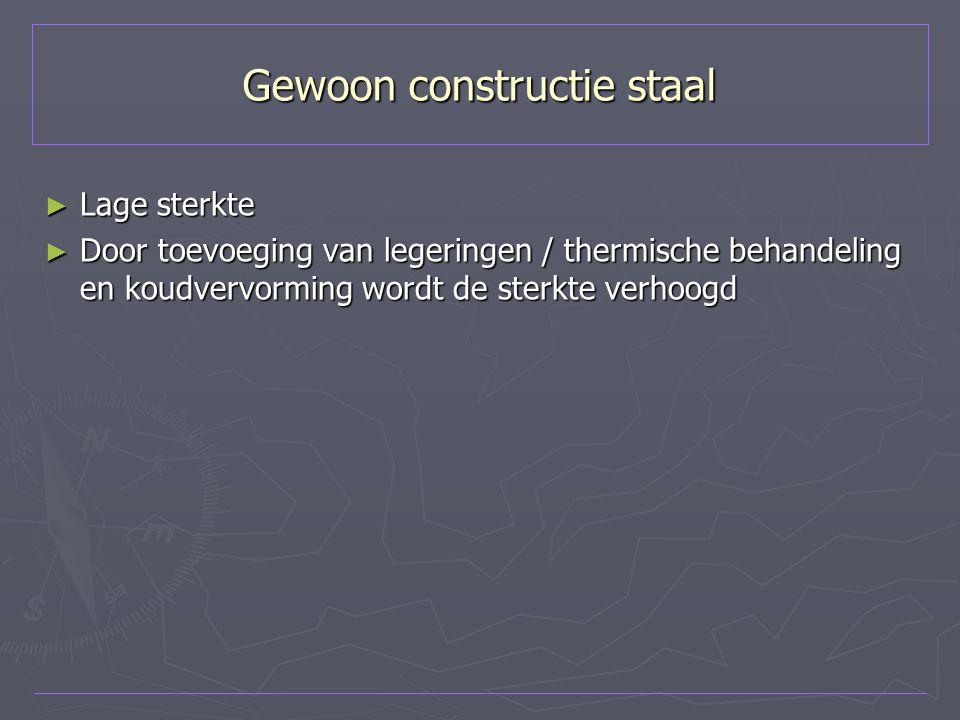Gewoon constructie staal ► Lage sterkte ► Door toevoeging van legeringen / thermische behandeling en koudvervorming wordt de sterkte verhoogd