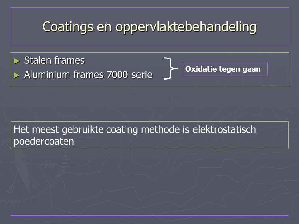 Coatings en oppervlaktebehandeling ► Stalen frames ► Aluminium frames 7000 serie Oxidatie tegen gaan Het meest gebruikte coating methode is elektrosta