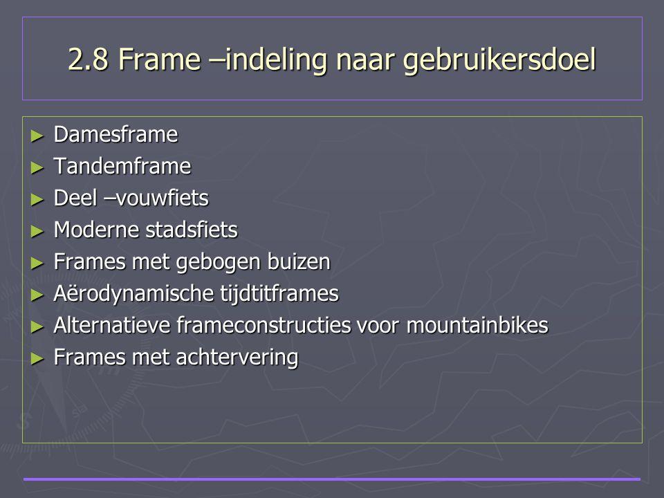 2.8 Frame –indeling naar gebruikersdoel ► Damesframe ► Tandemframe ► Deel –vouwfiets ► Moderne stadsfiets ► Frames met gebogen buizen ► Aërodynamische