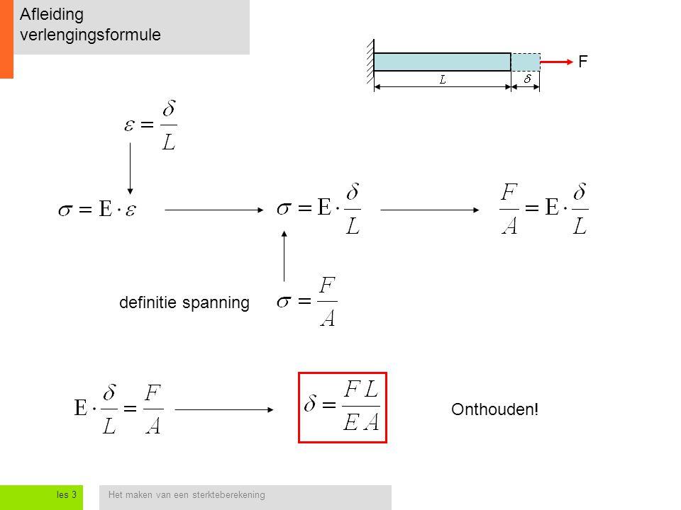Het maken van een sterkteberekeningles 3 Afleiding verlengingsformule definitie spanning Onthouden! F