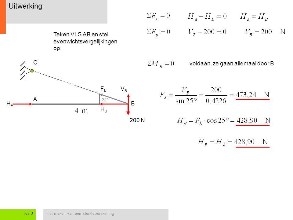 Het maken van een sterkteberekeningles 3 Uitwerking 200 N HAHA B C 25° HBHB VBVB FkFk A Teken VLS AB en stel evenwichtsvergelijkingen op. voldaan, ze