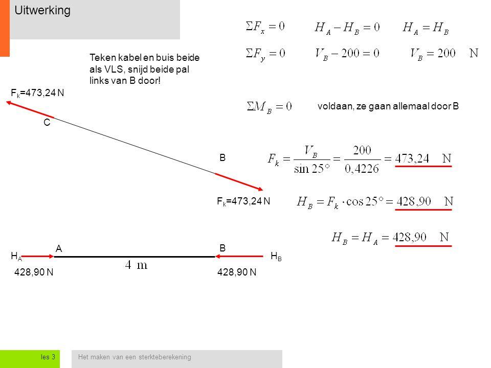 Het maken van een sterkteberekeningles 3 Uitwerking B C Teken kabel en buis beide als VLS, snijd beide pal links van B door! voldaan, ze gaan allemaal