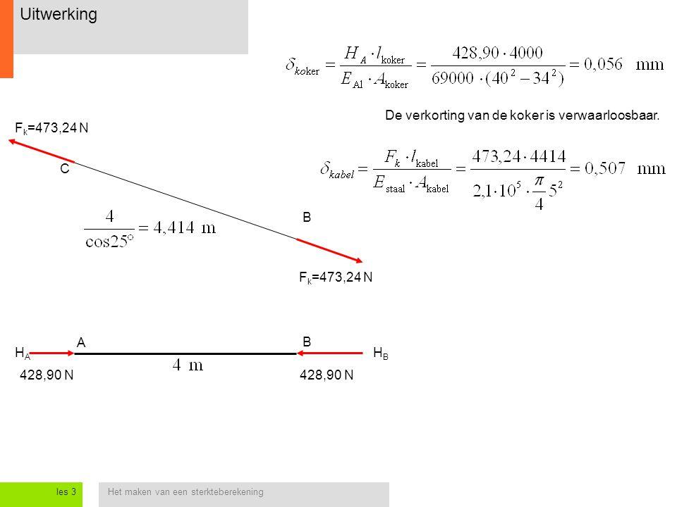 Het maken van een sterkteberekeningles 3 Uitwerking B C 428,90 N HAHA B A F k =473,24 N HBHB De verkorting van de koker is verwaarloosbaar.