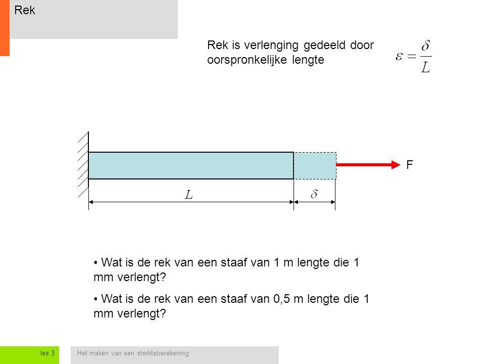 Het maken van een sterkteberekeningles 3 Rek Rek is verlenging gedeeld door oorspronkelijke lengte Wat is de rek van een staaf van 1 m lengte die 1 mm