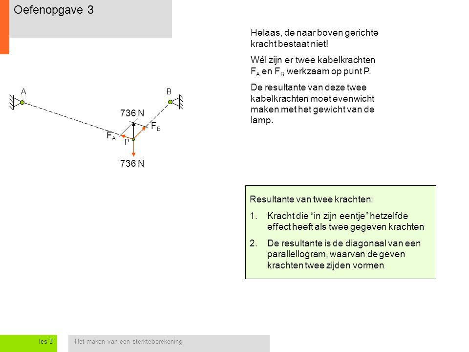 Het maken van een sterkteberekeningles 3 AB P 736 N Helaas, de naar boven gerichte kracht bestaat niet! Wél zijn er twee kabelkrachten F A en F B werk
