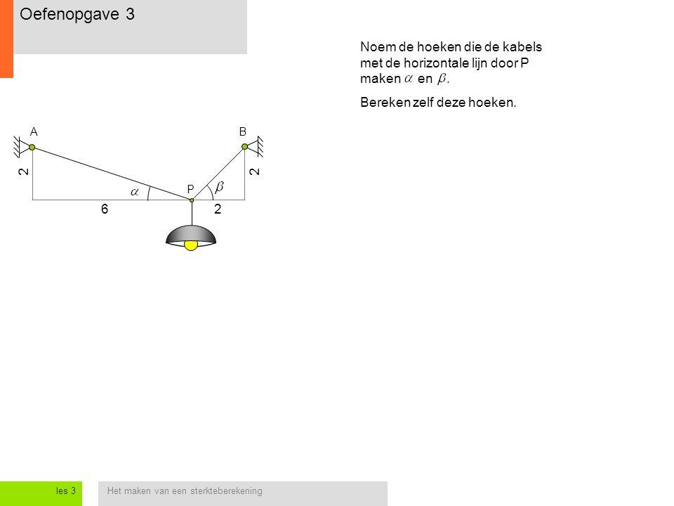 Het maken van een sterkteberekeningles 3 AB 2 2 P 6 2 Noem de hoeken die de kabels met de horizontale lijn door P maken en. Bereken zelf deze hoeken.