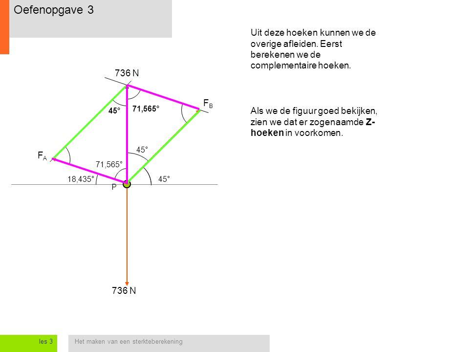 Het maken van een sterkteberekeningles 3 Uit deze hoeken kunnen we de overige afleiden. Eerst berekenen we de complementaire hoeken. P 736 N FAFA FBFB