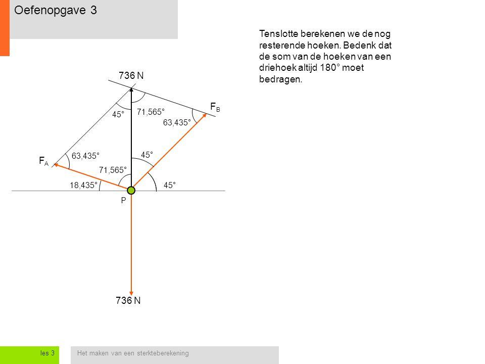 Het maken van een sterkteberekeningles 3 Tenslotte berekenen we de nog resterende hoeken. Bedenk dat de som van de hoeken van een driehoek altijd 180°