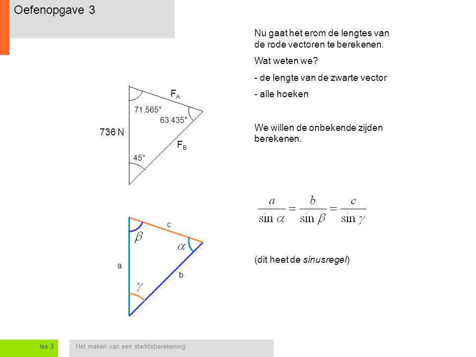 Het maken van een sterkteberekeningles 3 Nu gaat het erom de lengtes van de rode vectoren te berekenen. Wat weten we? - de lengte van de zwarte vector