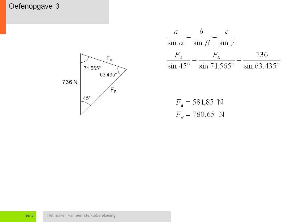Het maken van een sterkteberekeningles 3 736 N 45° 71,565° 63,435° FBFB FAFA Oefenopgave 3