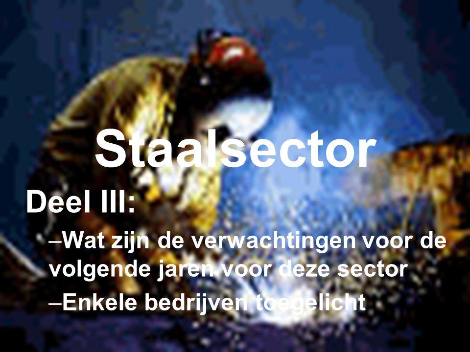 Staalsector Deel III: –Wat zijn de verwachtingen voor de volgende jaren voor deze sector –Enkele bedrijven toegelicht