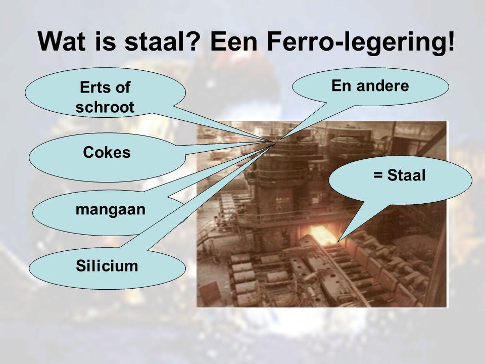 Wat is staal? Een Ferro-legering! Erts of schroot Cokes mangaan Silicium En andere = Staal