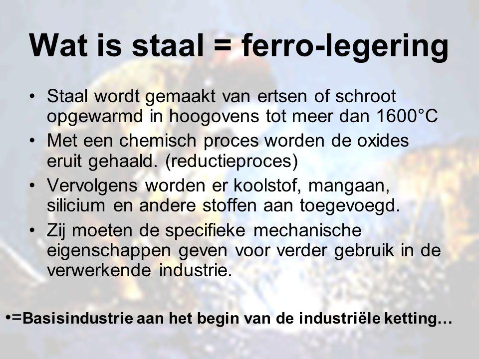 Wat is staal = ferro-legering Staal wordt gemaakt van ertsen of schroot opgewarmd in hoogovens tot meer dan 1600°C Met een chemisch proces worden de o