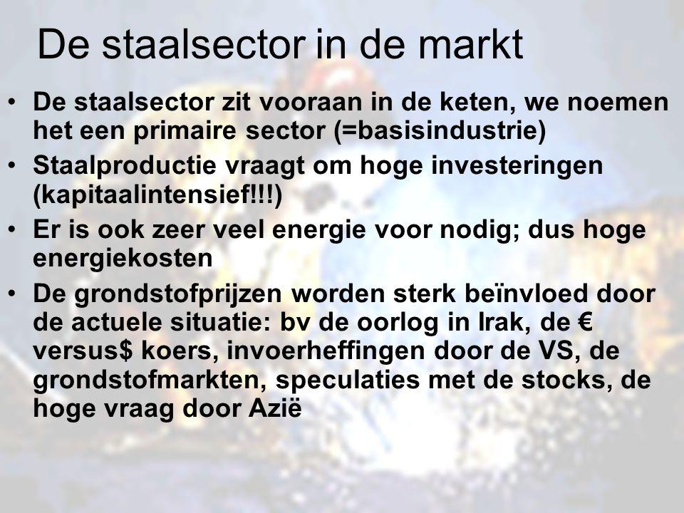 De staalsector in de markt De staalsector zit vooraan in de keten, we noemen het een primaire sector (=basisindustrie) Staalproductie vraagt om hoge i