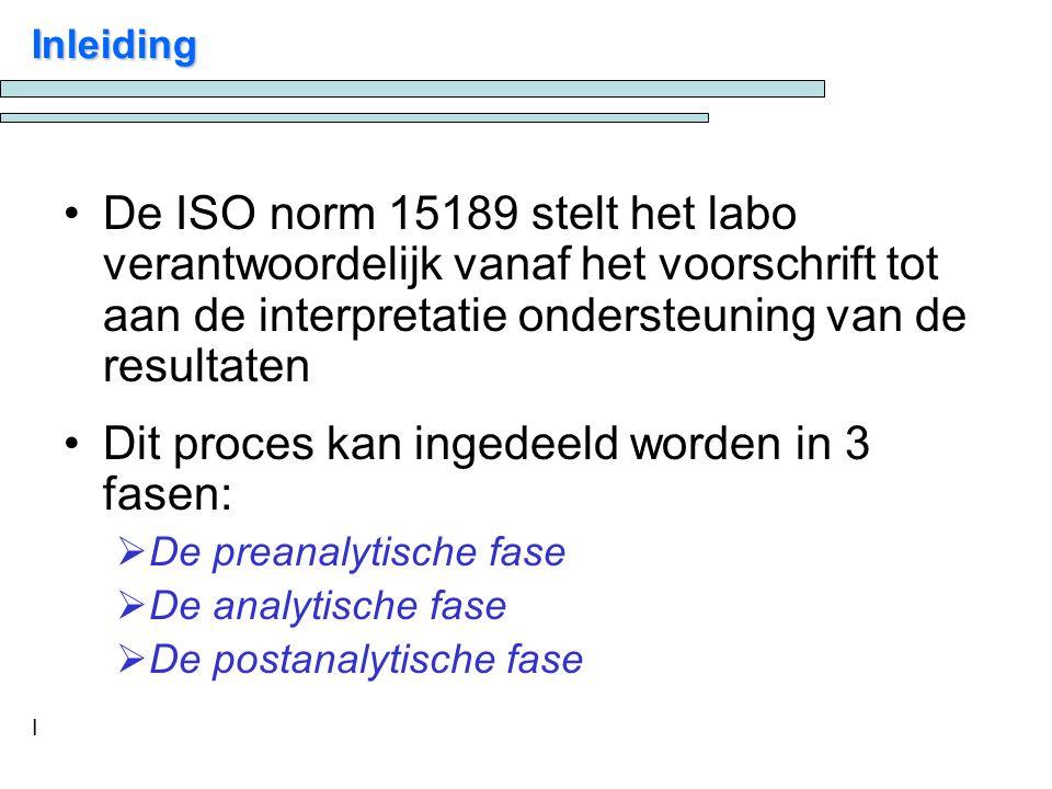 I Inleiding De ISO norm 15189 stelt het labo verantwoordelijk vanaf het voorschrift tot aan de interpretatie ondersteuning van de resultaten Dit proces kan ingedeeld worden in 3 fasen:  De preanalytische fase  De analytische fase  De postanalytische fase