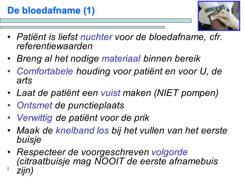 I De bloedafname (1) Patiënt is liefst nuchter voor de bloedafname, cfr.