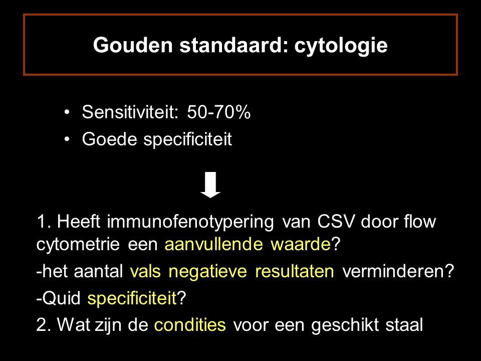 Gouden standaard: cytologie Sensitiviteit: 50-70% Goede specificiteit 1.
