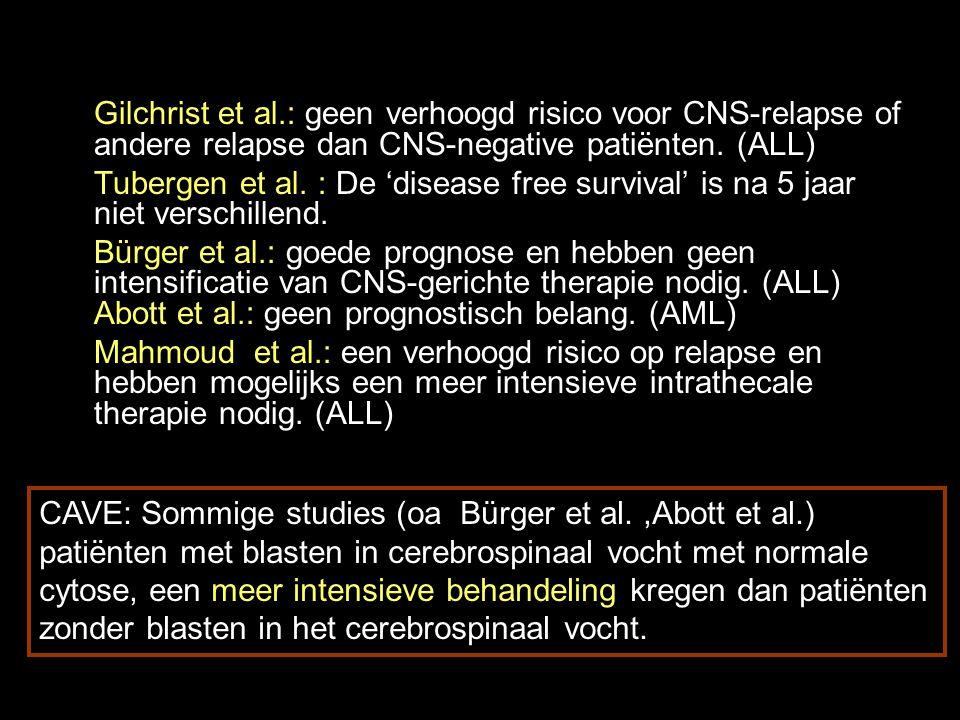 Gilchrist et al.: geen verhoogd risico voor CNS-relapse of andere relapse dan CNS-negative patiënten.