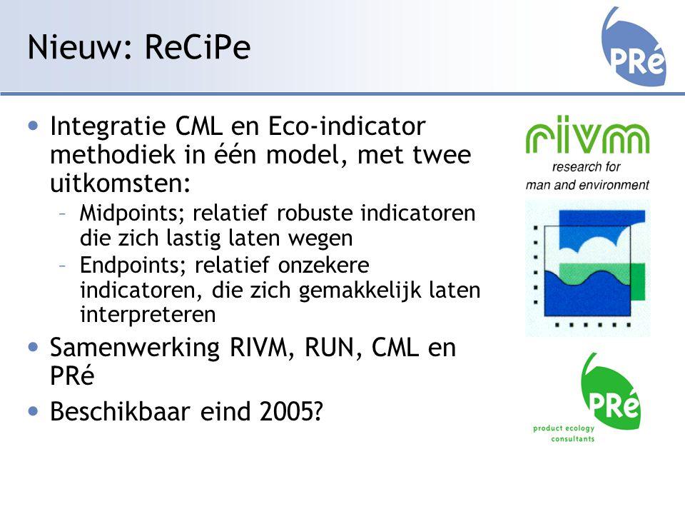 Nieuw: ReCiPe Integratie CML en Eco-indicator methodiek in één model, met twee uitkomsten: –Midpoints; relatief robuste indicatoren die zich lastig laten wegen –Endpoints; relatief onzekere indicatoren, die zich gemakkelijk laten interpreteren Samenwerking RIVM, RUN, CML en PRé Beschikbaar eind 2005?