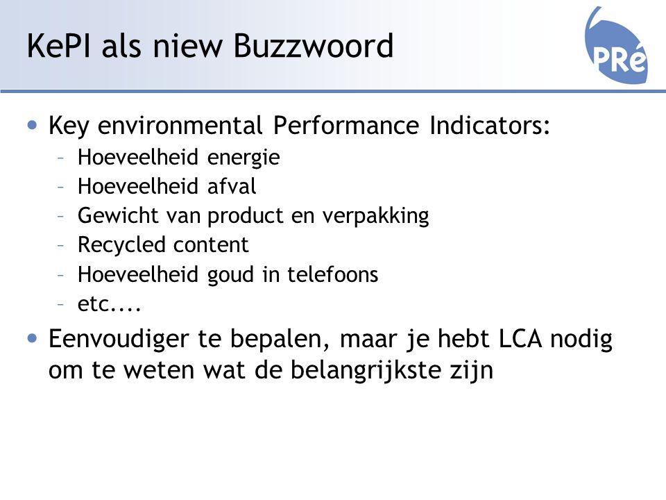 KePI als niew Buzzwoord Key environmental Performance Indicators: –Hoeveelheid energie –Hoeveelheid afval –Gewicht van product en verpakking –Recycled content –Hoeveelheid goud in telefoons –etc....