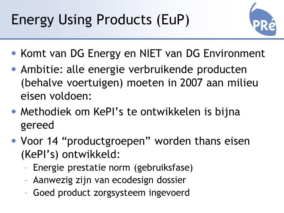 Energy Using Products (EuP) Komt van DG Energy en NIET van DG Environment Ambitie: alle energie verbruikende producten (behalve voertuigen) moeten in 2007 aan milieu eisen voldoen: Methodiek om KePI's te ontwikkelen is bijna gereed Voor 14 productgroepen worden thans eisen (KePI's) ontwikkeld: –Energie prestatie norm (gebruiksfase) –Aanwezig zijn van ecodesign dossier –Goed product zorgsysteem ingevoerd