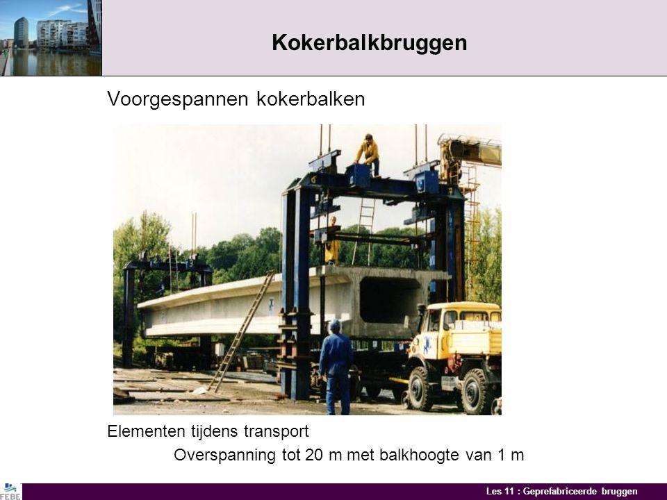 Les 11 : Geprefabriceerde bruggen Kokerbalkbruggen- variante Voorgespannen U-liggers en ter plaatse gestort dek Elementen op stock Brug met U-liggers